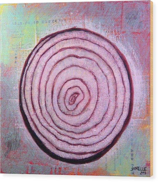 Circular Food - Onion Wood Print