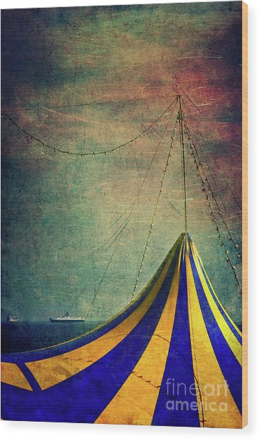 Circus With Distant Ships II Wood Print