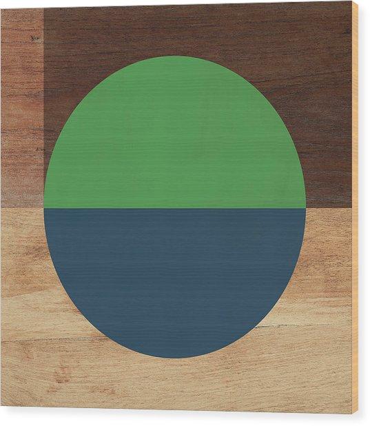 Cirkel Blue And Green- Art By Linda Woods Wood Print