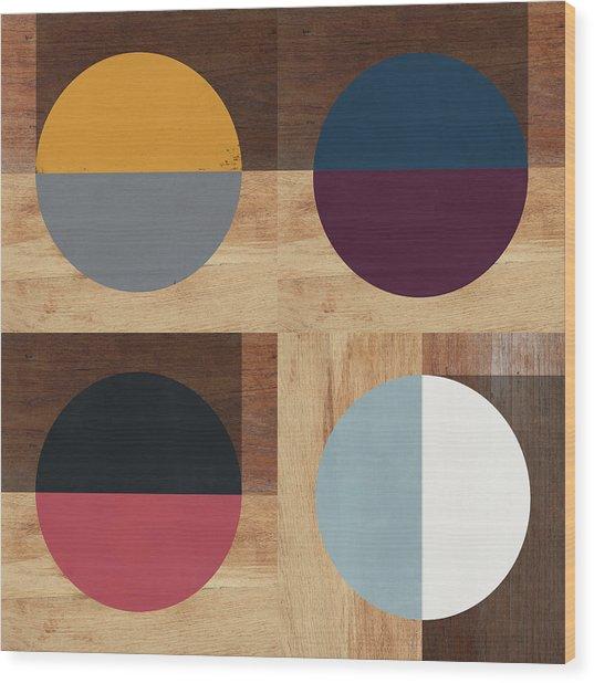 Cirkel Quad- Art By Linda Woods Wood Print