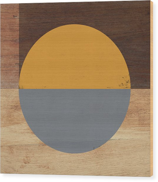 Cirkel Yellow And Grey- Art By Linda Woods Wood Print
