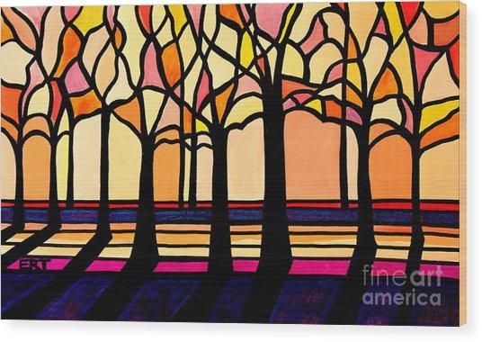Citrus Glass Trees Wood Print