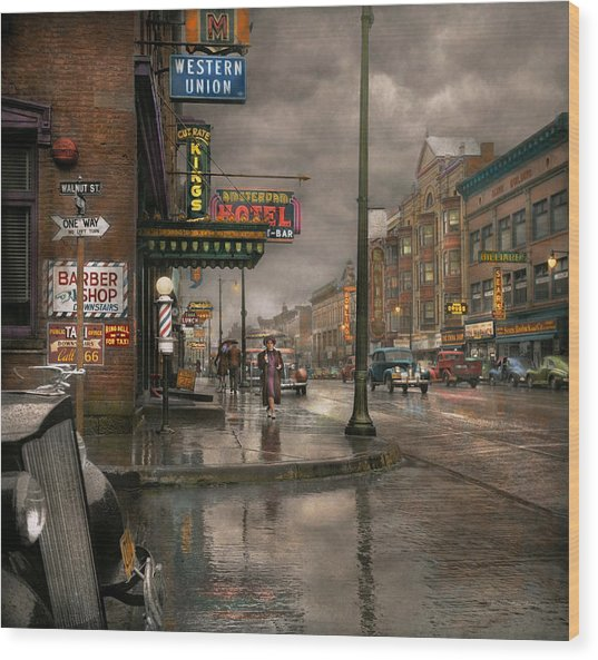 City - Amsterdam Ny -  Call 666 For Taxi 1941 Wood Print