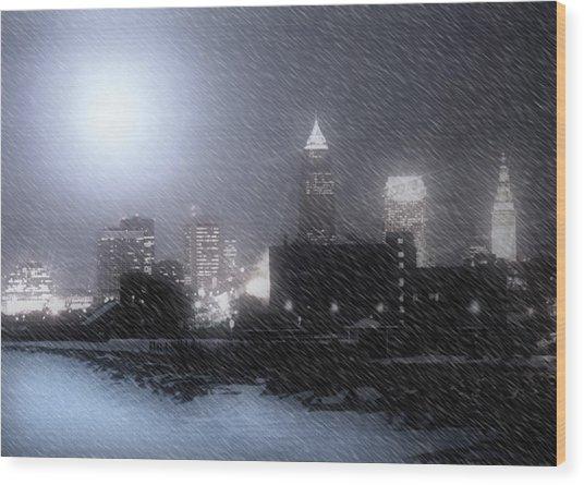 City Bathed In Winter Wood Print by Kenneth Krolikowski