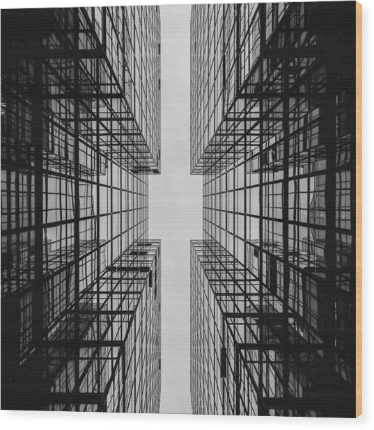 City Buildings Wood Print