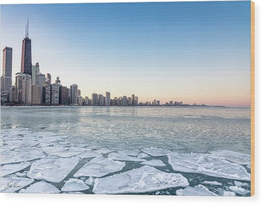 City By The Frozen Lake Wood Print