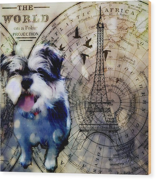 Wood Print featuring the digital art City Girl Goes To Paris by Delight Worthyn