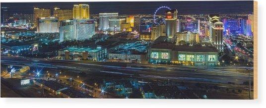 City Lifescape View Las Vegas Wood Print