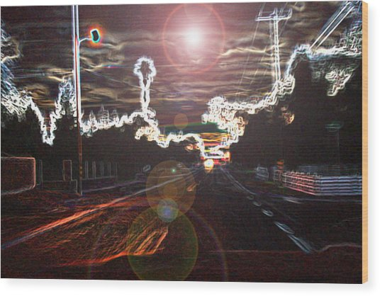 City Lights Wood Print by Joshua Sunday