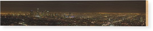 City Of Angels Panorama Wood Print