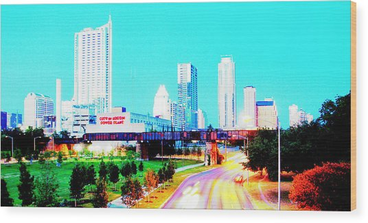 City Of Austin From The Walk Bridge 2 Wood Print