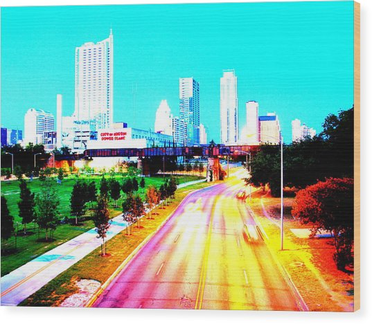 City Of Austin From The Walk Bridge Wood Print