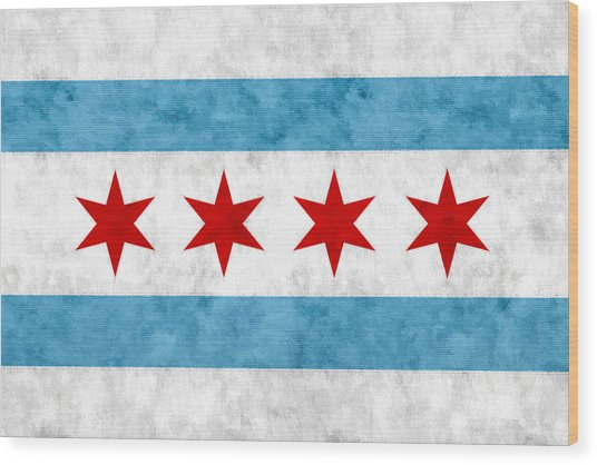 City Of Chicago Flag Wood Print
