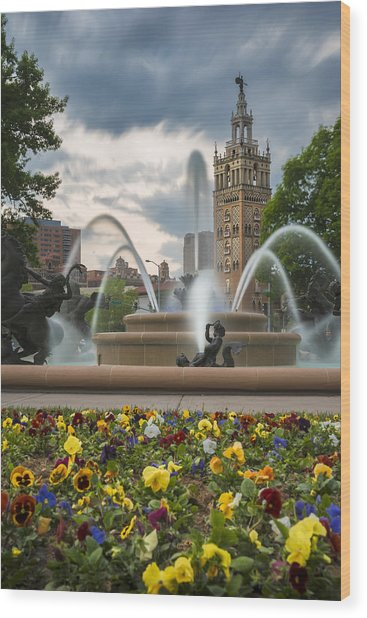 City Of Fountains Wood Print