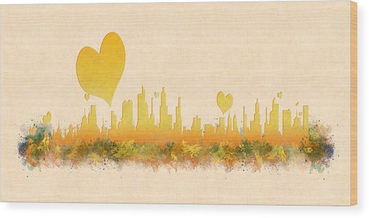 City Of Love Wood Print