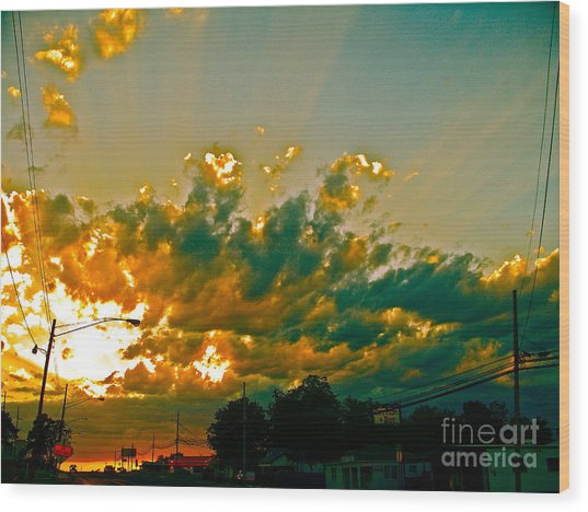 City Of Sky And Wires Wood Print by Chuck Taylor