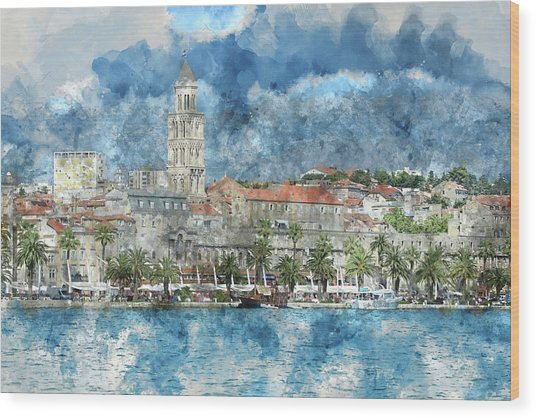 City Of Split In Croatia With Birds Flying In The Sky Wood Print