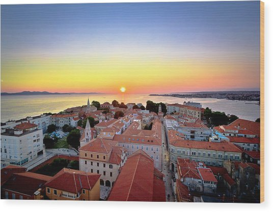 City Of Zadar Skyline Sunset View Wood Print