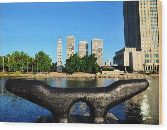 City On A Bollard Wood Print by Andrew Dinh