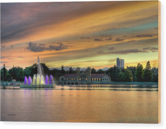 City Park Fountain At Sunset Wood Print