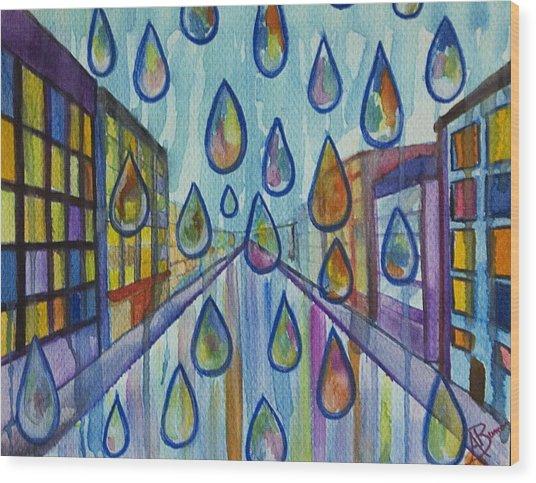City Rain Wood Print