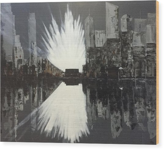 City Reflections Wood Print