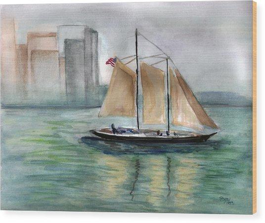 City Sail Wood Print