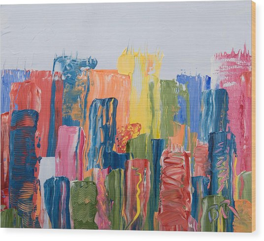 City Skyline 1 Wood Print by Brad Rickerby