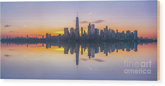 City Skyline Reflections Panorama Wood Print