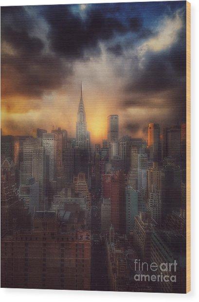 City Splendor - Sunset In New York Wood Print