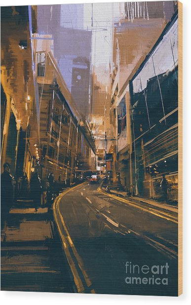 Wood Print featuring the painting City Street by Tithi Luadthong