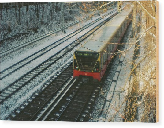 City Train In Berlin Under The Snow Wood Print