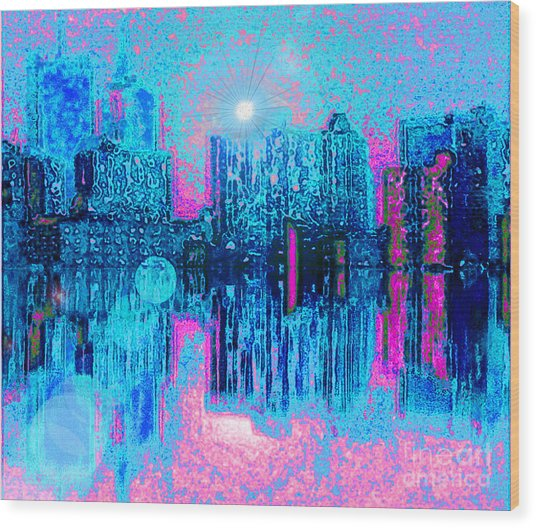 City Twilight Wood Print