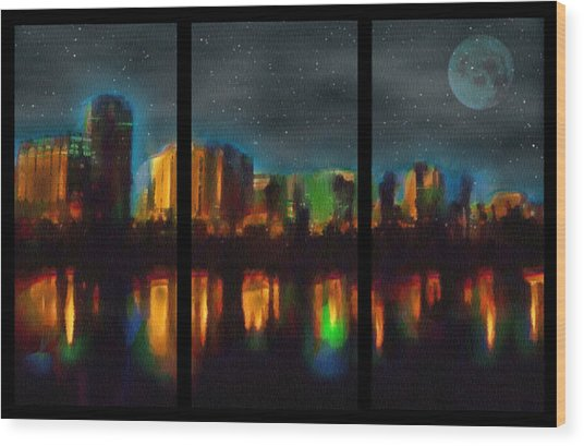 City Under A Blue Moon Wood Print
