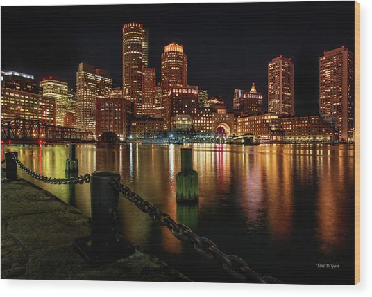 City With A Soul- Boston Harbor Wood Print