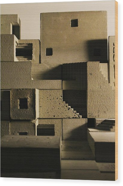 Cityscape 11 Wood Print by David Umemoto