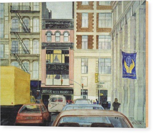 Wood Print featuring the painting Cityscape by Karen Zuk Rosenblatt