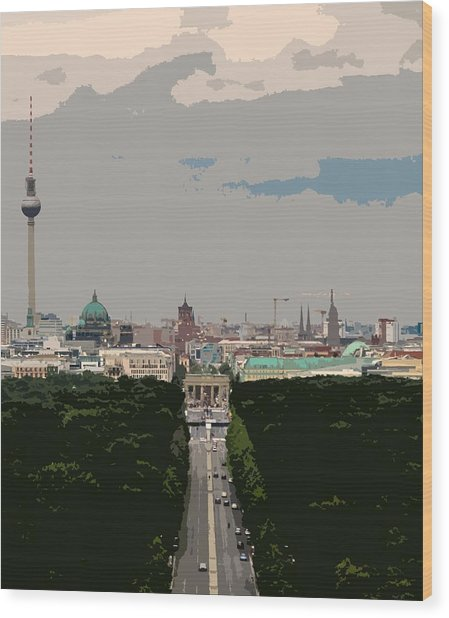 Cityscape Of Berlin - Painting Effect Wood Print