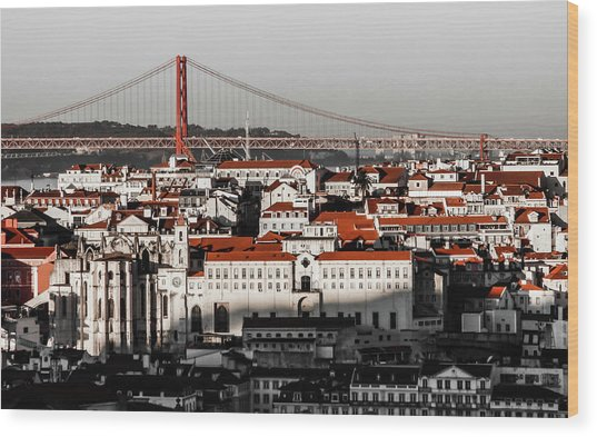Lisbon In Black, White And Red Wood Print