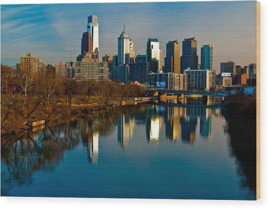 Cityscape Of Philadelphia Pa Wood Print