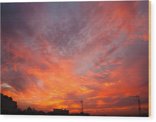 Cityscape Sky On Fire Wood Print