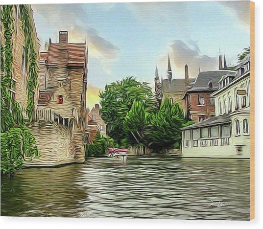 Cityscape Bruges Belgium Wood Print