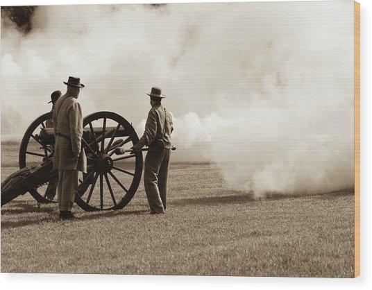 Civil War Era Cannon Firing  Wood Print