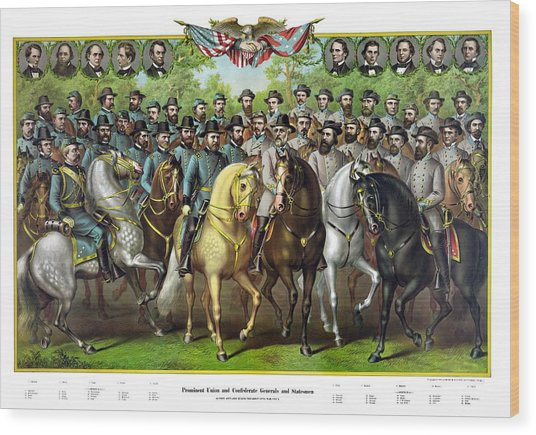 Civil War Generals And Statesman With Names Wood Print