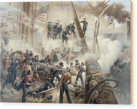 Civil War Naval Battle Wood Print