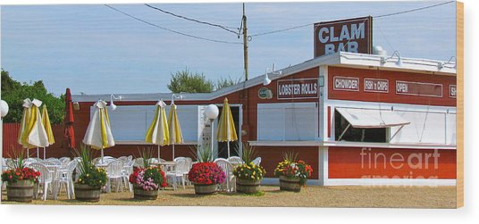 Clam Bar Wood Print
