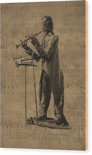 Clarinet Player Wood Print by Malu Couttolenc