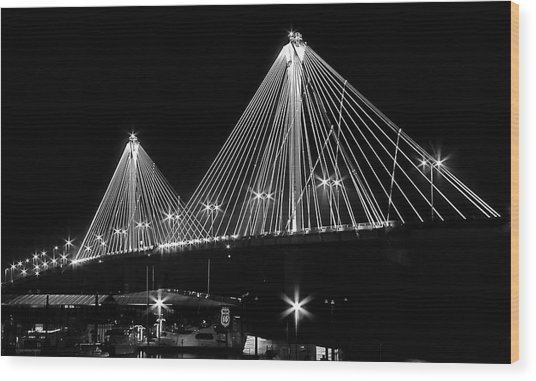 Clark Bridge Night Wood Print