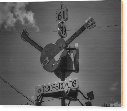 Wood Print featuring the photograph Clarksdale - The Crossroads 001 Bw by Lance Vaughn