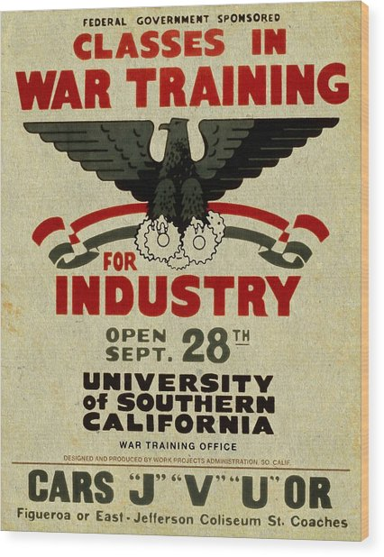 Classes In War Training For Industry - Vintage Poster Vintagelized Wood Print